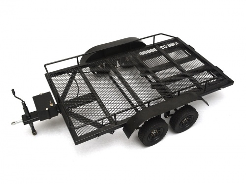 FULL METAL 1/10 DUAL AXLE LARGE TRAILER KIT w/LIGHTS