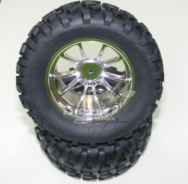 1/10 MONSTER TRUCK TIRES/WHEELS - CHROME #08071